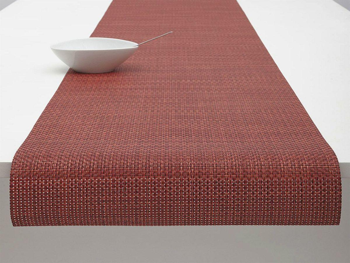 チルウィッチテーブルランナーのバスケットウィーブ・ポメグラネイト色